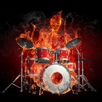 Обои Барабанщик в образе огня