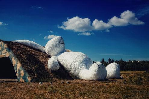 Обои Огромный спящий игрушечный заяц, ву Hanson Mao