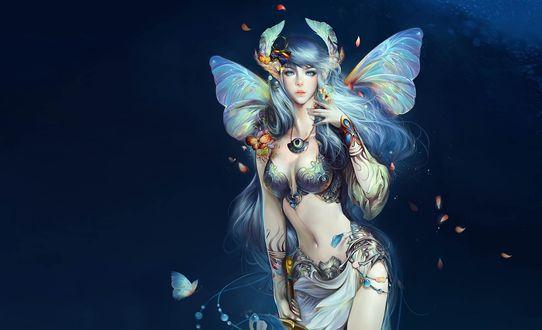 Обои Полуобнаженная фея с крыльями бабочки на синем фоне из игры Perfect World internationale