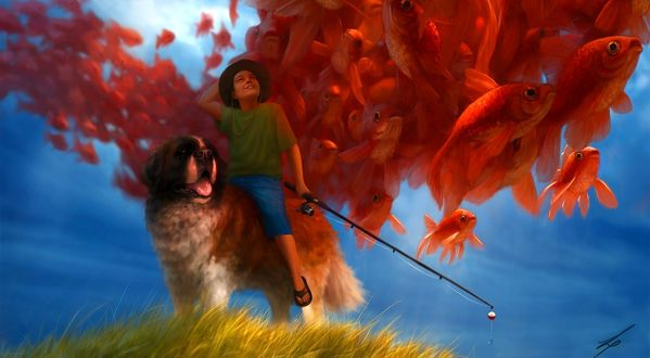 Обои Мальчик с удочкой, сидя верхом на сенбернаре, смотри на летящих по небу золотых рыбок