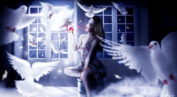 Обои Девушка с сердечком в руке в окружении голубей, by altair-Е
