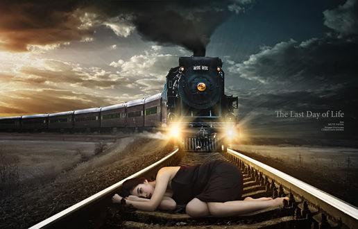 Обои К девушке лежащей на рельсах, приближается железнодорожный состав,(The Last Day of Life / Последний день жизни), модель Mute Vania, by chr2412
