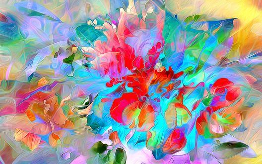 Обои Рисованные цветы акварелью