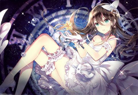 Обои Rin Shibuya в белом платье на фоне циферблата, персонаж аниме и серии видеоигр The Idolmaster / Идолмастер, art by Domotolain