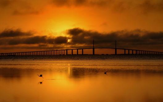 Обои Мост над водоемом на фоне ночного неба