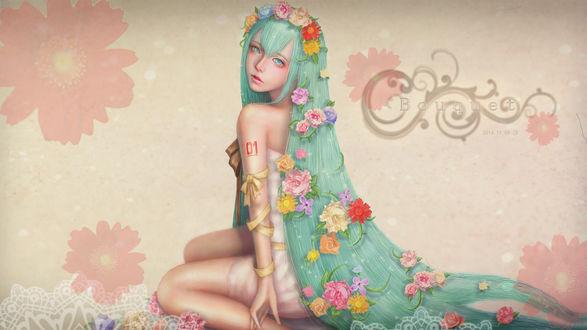 Обои Vocaloid Miku Hatsune / Вокалоид Мику Хатсуне сидит с длинными волосами, украшенными цветами