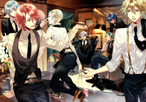 Обои Azusa, Homare, Ryunosuke, Kanata, Suzuya и Yoh с черным псом весело проводят время, аниме Starry sky / Звездное небо, art by Kazuaki