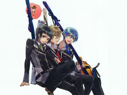 Обои Azusa, Homare и Ryunosuke в школьной форме на белом фоне, аниме Starry sky / Звездное небо, art by Kazuaki
