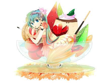 Обои Vocaloid Miku Hatsune / Вокалоид Мику Хатсуне сидит в вазочке с мороженым на белом фоне, rt by Marirero