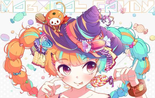 Обои Vocaloid Hatsune Miku / Вокалоид Хатцуне Мику в шляпке и с леденцом в руке, art by Nou