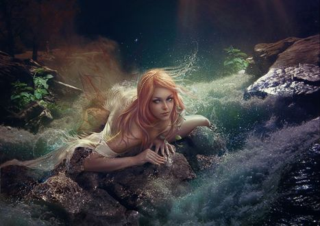 Обои Красивая русалка, by Vasylina