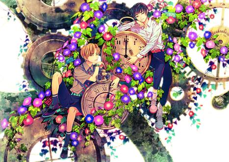Обои Двое парней среди часов и цветов