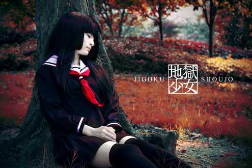 Обои Косплей Enma Ai / Энма Ай из аниме Адская девочка / Hell Girl / Jigoku Shoujo