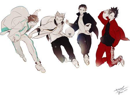 Обои Daichi Sawamura / Даичи Савамура, Tetsurou Kuroo / Тэцуро Куро, Tooru Oikawa / Тору Оикава и Bokuto Koutarou / Бокуто Котаро из аниме Haikyuu! / Волейбол!