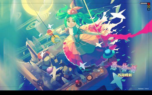 Обои Yotsugi Ononoki с игрушками в своем воображаемом мире из аниме Bakemonogatari / Истории чудовищ, art by Vofan