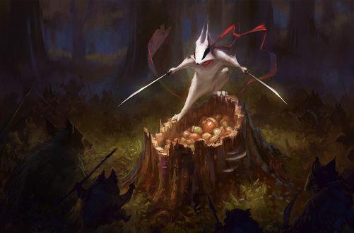 Обои Белый зверь с оружием в руках защищает дупло с орешками от другой нечисти, art by Wildweasel339