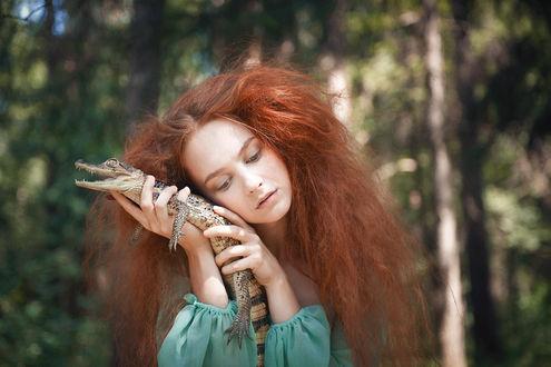Обои Девушка держит в руках детеныша крокодила Фото Ольги Баранцевой