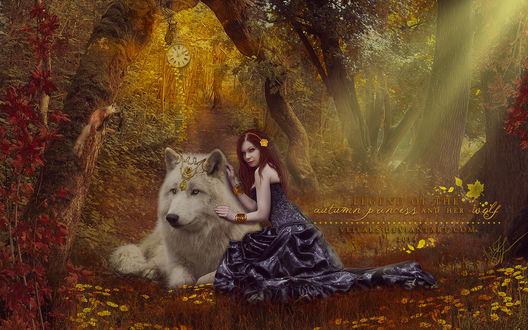 Обои Девушка с волком сидят в лесу, by VeilaKs
