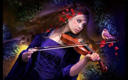 Обои Девушка в синем платье, с красными листьями в развевающихся волосах и на смычке, с сидящей на нем птичке, играет на скрипке
