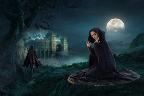 Обои Девушка в плаще сидит на фоне ночного неба с полной луной