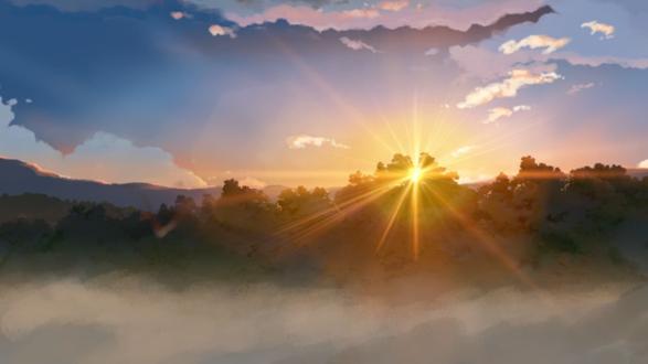 Обои Лучистое солнце пробивается сквозь крону деревьев, освещая долину (Кадр из аниме Ловцы забытых голосов / Hoshi o ou kodomo)