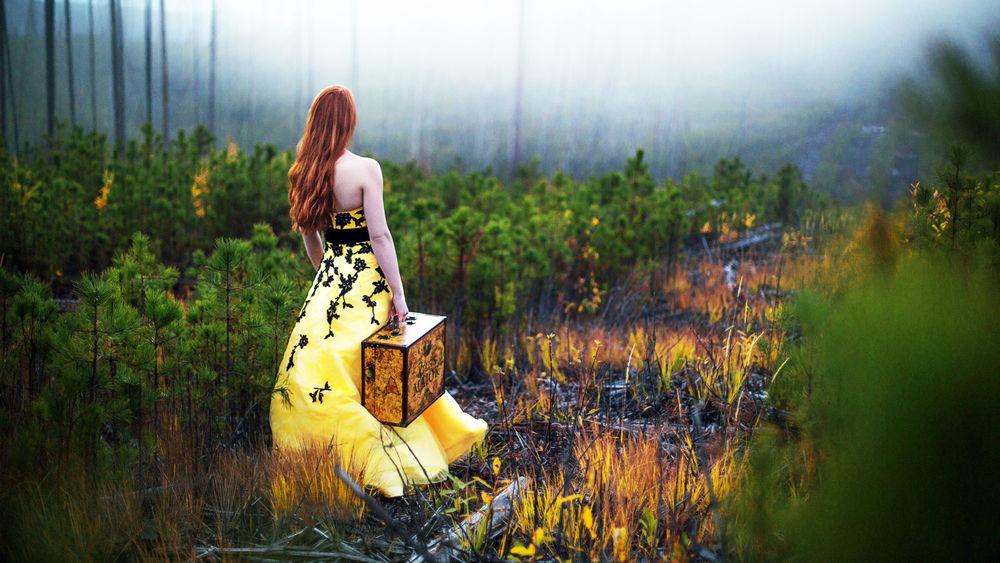 Обои для рабочего стола Девушка в желтом платье с чемоданом в руке идет по сухой траве