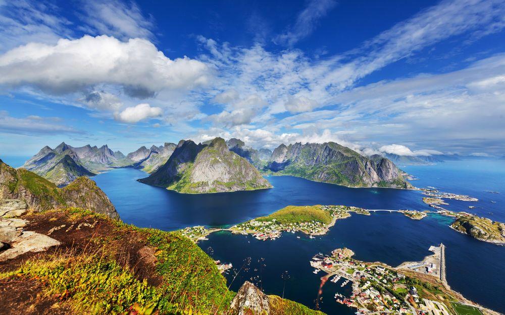 Обои для рабочего стола Норвегия, Лофотенские острова, панорама, вид сверху