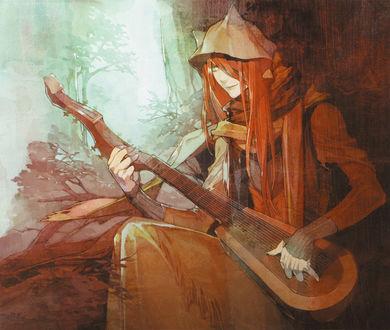 Обои Рыжеволосый демон Shui, сидя у дерева, играет на музыкальном инструменте из игры Lamento, art by Chinatsu Kurahana