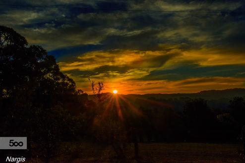 Обои Яркое солнце на закате, ву Nargis Halter