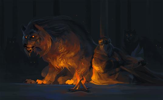 Обои Злобный волк и человек рядом с костром, by Seenyurr