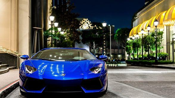 Обои Синий Lamborghini / Ламборджини на фоне ночного города