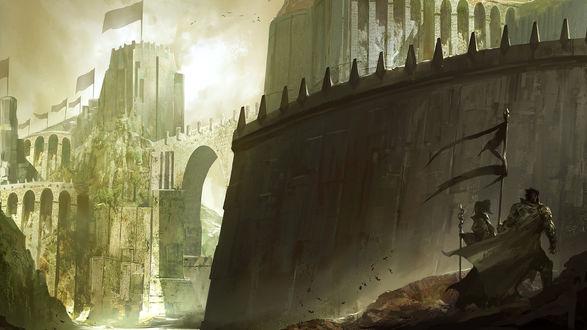 Обои Воины около неприступной крепости, видеоигра Guild Wars 2