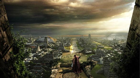 Обои Волшебник с помощью магии насылает проклятие на город, расстилающийся под ним
