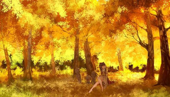 Обои Hakurei Reimu / Рейму Хакурей сидит в осеннем лесу рядом с тремя каменными буддами из игры Проект Восток / Touhou Project, art by Madcocoon