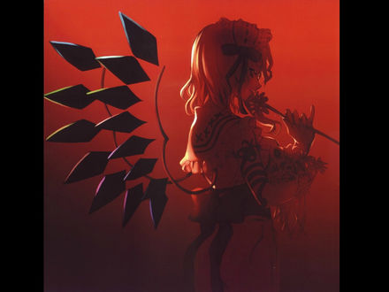 Обои Flandre Scarlet / Фландр Скарлет из игры Проект Восток / Touhou Project с крылышками из кристоллов, art by Shinobu Kuroya