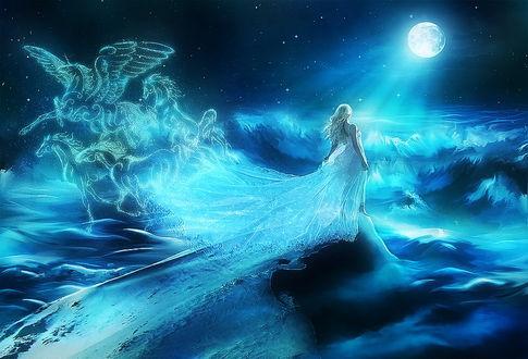 Обои Девушка на гребне волны, плывет на встречу полной луне, из подола платья призрачные кони