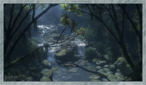 Обои Лесной ручей, текущий по камням в густой чаще леса, by 00AngelicDevil00