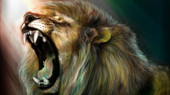 Обои Арт рычащего льва