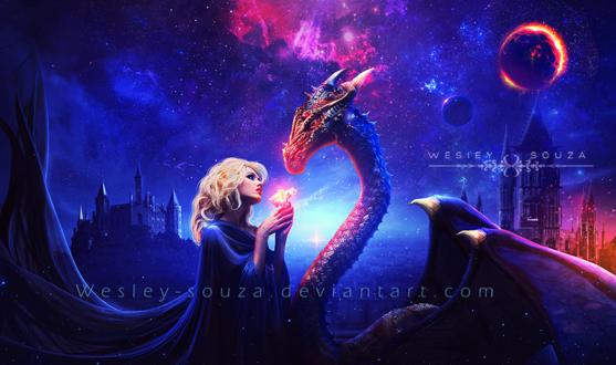 Обои Девушка с цветком в руках стоит напротив дракона, работа Wesley-Souza