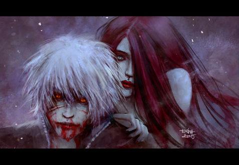 Обои Девушка и парень с окровавленным лицом, art by NanFe
