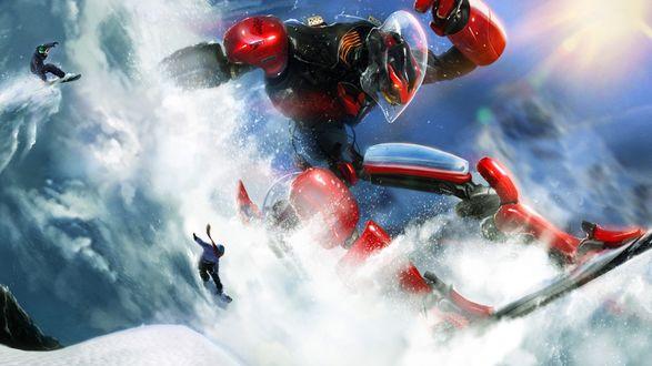 Обои Робот на сноуборде в прыжке