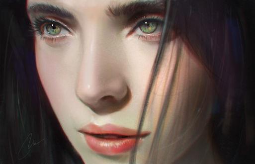 Обои Портрет девушки с зелеными глазами, by chaosringen