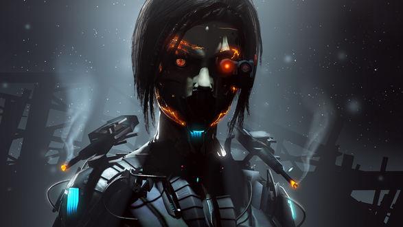 Обои Киборг, робот с горящими глазами на темном фоне
