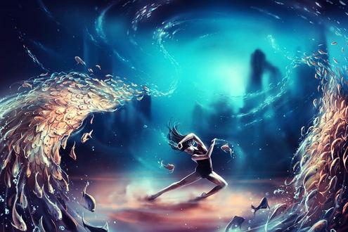 Обои Девушка танцует на дне моря, в окружении косяка рыб, автор Кирилл Роландо / Cyril Rolando/