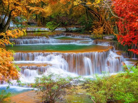 Обои Каскад водопадов в национальном парке Эраван / Erawan / города Канчанабури / Kanchanaburi/, Таиланд