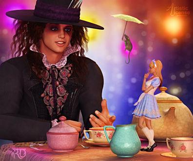 Обои Алиса на чаепитии с Безумным шляпником, by RavenMoonDesigns