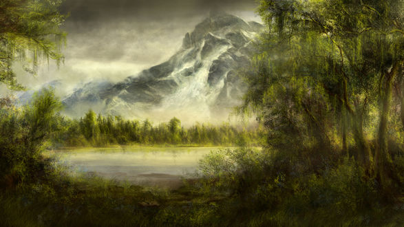 Обои Лесное озеро у подножия горы