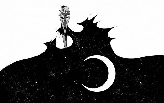 Обои Векторная графика из аниме Фаза Луны / Moon Phase, девушка в платье в виде ночного звездного неба с Луной