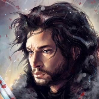 Обои Лицо Джона Сноу / Jon Snow персонажа из телесериала Игра престолов / Game of Thrones, актер Кит Харингтон / Kit Harington