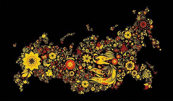 Обои Карта России в виде цветов, ягод, птиц, узоров, абстракции, листьев на черном фоне, роспись Хохлома